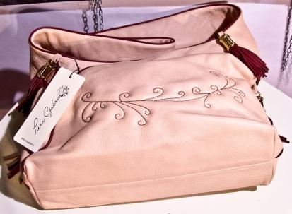 Bag Lorenza in vera pelle col. Pink e contrasti in vera pelle bordeaux